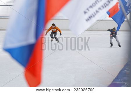 ST. PETERSBURG, RUSSIA - FEBRUARY 3, 2018: Boys compete during the Open All-Russian Mass Skating Competitions Ice Of Our Hope. Founded in Soviet era, this year competitions will be held in 32 cities