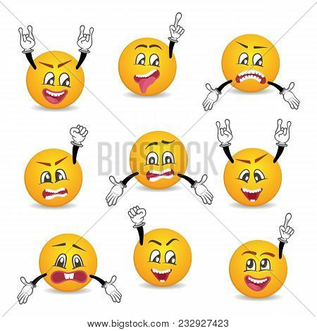 Joyful And Sad Smileys With Hands Gesture Set. Happiness, Anger, Joy, Fury, Sad, Playful, Fear, Surp