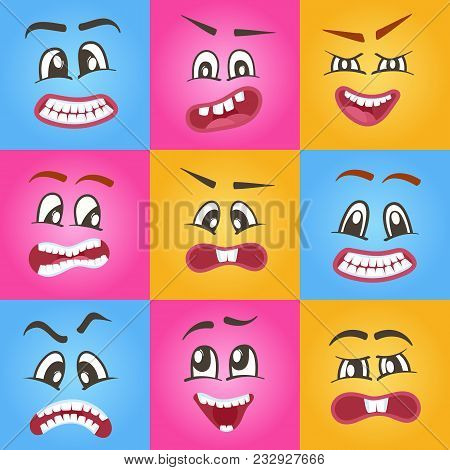 Funny Emoticons Or Isolated Smileys Icons Set. Cute Smiley Faces With Different Facial Expressions.