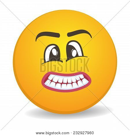Harmful 3d Round Yellow Smiley Face Icon. Funny Facial Expression Emoji, Cute Comic Emoticon Isolate