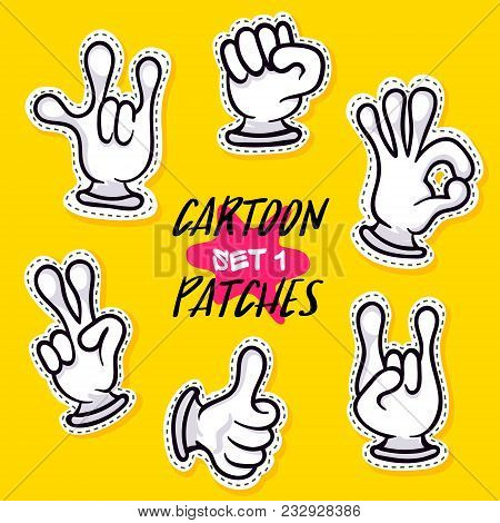 Cartoon Patches With Human Hands. Funny Emoticon Gesturing, Making Signals, Sign Language, Comic Iso