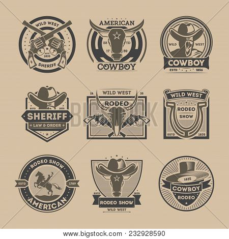 Cowboy Vintage Isolated Label Set. American Rodeo Show Badge And Wild West Sheriff Department Emblem