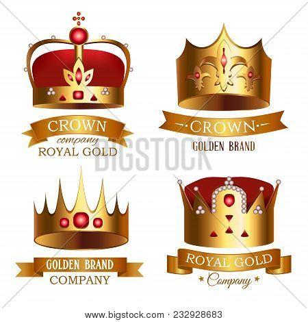 Golden crown of kingdom with ribbon isolated set. Medieval heraldic symbol, beautiful monarchy 3d design element, royalty company logo. Elegant aristocratic branding illustration. poster