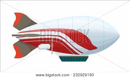 Modern Zeppelin Icon Isolated On White Background Illustration. Aerostat Airship, Aerial Vehicle Dir