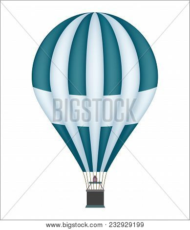 Hot Air Balloon Icon Isolated On White Background Illustration. Aerostat Airship, Modern Zeppelin, A