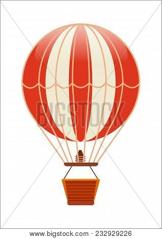 Free Flying Balloon Icon Isolated On White Background Illustration. Aerostat Airship, Modern Zeppeli