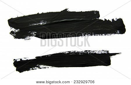 Set Of Black Abstract Gouache Brush Strokes On A White Background