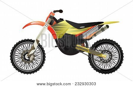 Rally Motorbike Icon Isolated Illustration. Extreme Moto Sport Competition, Road Trophy Race Champio