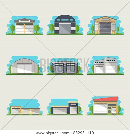 Commercial Storehouse Isolated Icon Set. Storage Building Illustration Collection. Commercial Real E