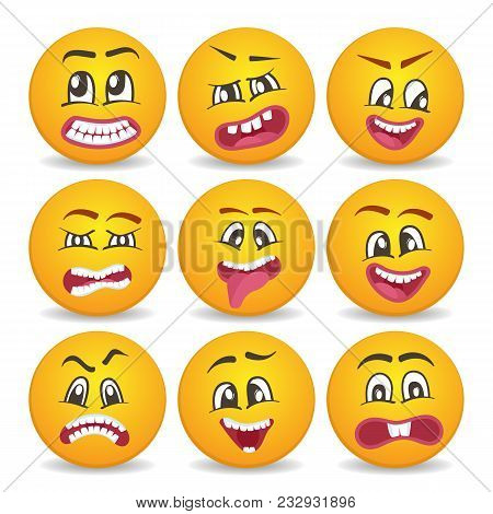 Funny Smileys Faces Isolated Icon Set. Comic Yellow Round Emoticons, Emoji Characters With Different