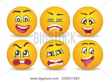 Smileys with different face expression stuck. Happiness, anger, joy, fury, sad, playful, fear, surprise comic yellow faces, round emoji characters. Cute isolated facial expressions icon set. poster