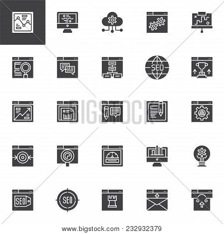 Seo And Online Marketing Vector Icons Set, Modern Solid Symbol Collection, Filled Style Pictogram Pa