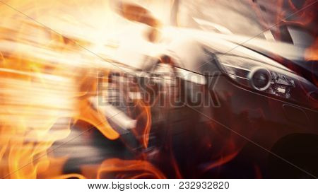 Blurred Of Image Car Drift On Fire Track.radial Blurred Effect.sport Car Drift Concept.transportatio