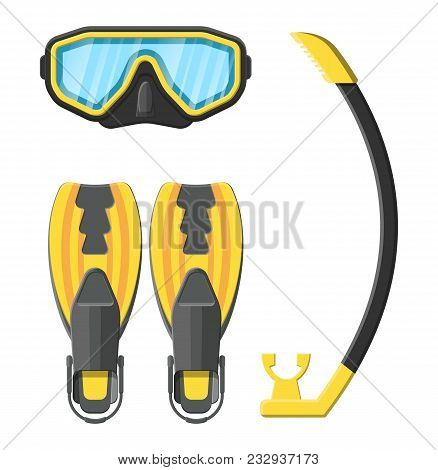 Diving Mask, Flippers And Snorkel. Diving Equipment. Scuba, Snorkeling. Goggles And Pipe. Vector Ill