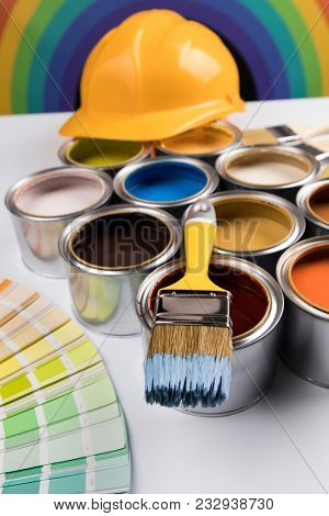 Rainbow colors, Open cans of paint