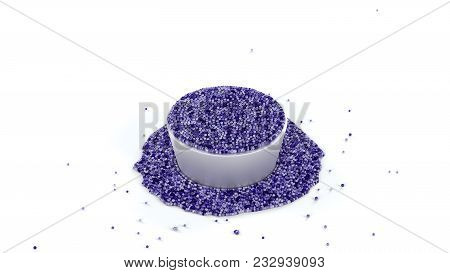 3d Illustration Of Fullfilled Metallic Cup Of Shiny Purple And Sticky Fluid Of Many Micro Balls With