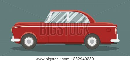 Old Classic Brandless Automobile Side View. Cartoon Style Vector Illustration.