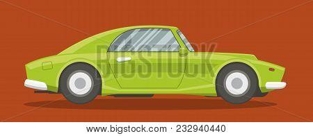 Retro Brandless Race Car Side View Vector Illustration.