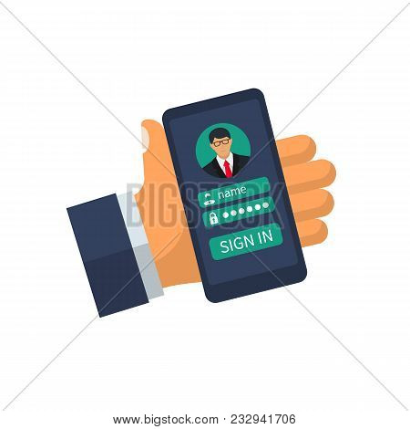 Hand Hold Smartphone, Sign In Page Personal Account Mobile Phone. Concept Security Personal Data. Ve