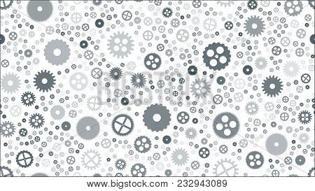 Geometrical Engineering Seamless Pattern. Abstract Gears Background. Vector Illustration.