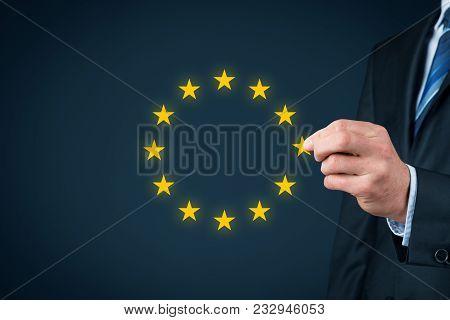 European Union Disintegration Concept. Politician Populist Remove Star From Eu Symbol (brexit, Grexi