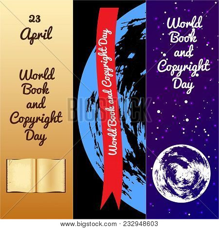 World Book And Copyright Day. Bookmarks For Event Participants. Old Book, Name And Date Of Event. Re