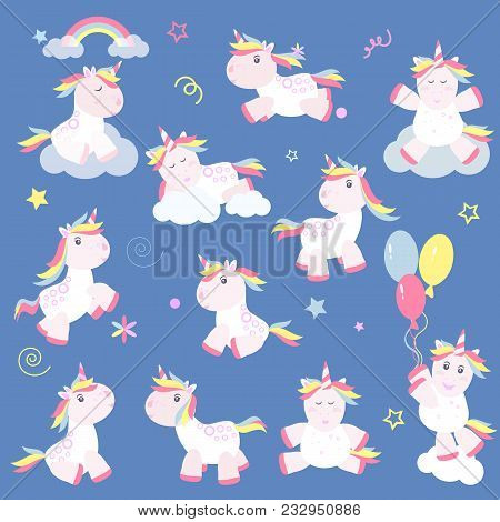 Cute Unicorn Magic Baby Vector. Fantasy Animal Lovely Horn Head Illustration Sweet Horse Dream Carto