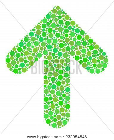 Arrow Direction Composition Of Filled Circles In Different Sizes And Eco Green Shades. Vector Circle