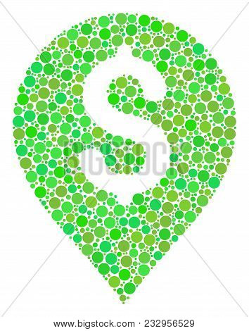 Banking Map Marker Collage Of Dots In Various Sizes And Green Shades. Vector Circle Elements Are Gro