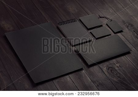 Branding Business Mock Up Of Blank Black Letterhead, Notepad, Label, Envelope, Business Card On Dark