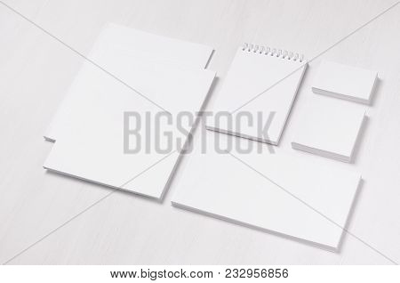 White Blank Business Card, Envelope, Letterhead, Notepad, Stickers On Soft White Wood Board, Incline