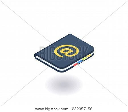 Address Book Icon, Vector Illustration In Flat Isometric 3d Style.