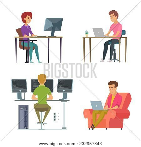 Designers And Programmers At Work. Programmer And Designer, Computer Workplace. Vector Illustration