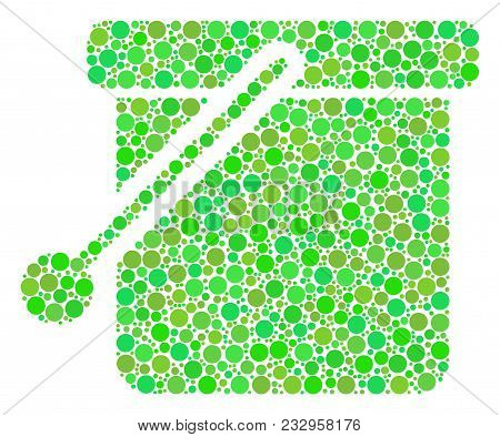 Bucket Mosaic Of Circle Elements In Variable Sizes And Fresh Green Shades. Vector Round Elements Are