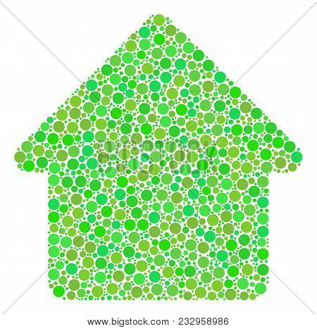 Cabin Mosaic Of Circle Elements In Variable Sizes And Fresh Green Color Tinges. Vector Filled Circle