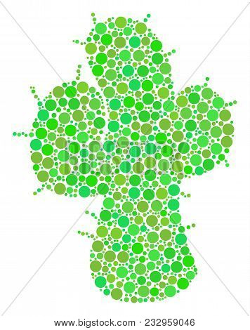 Cacti Collage Of Filled Circles In Variable Sizes And Fresh Green Color Tints. Vector Circle Element