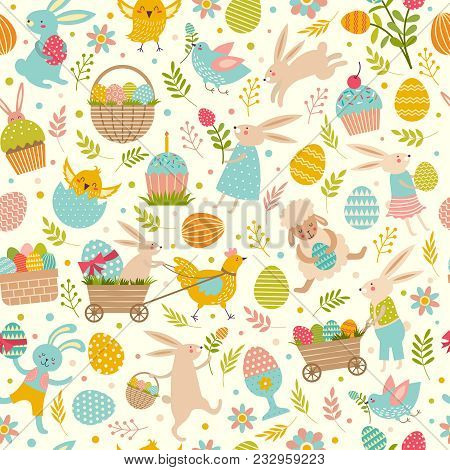 Cute Easter Seamless Pattern. Vector Easter Holiday Pattern With Egg And Basket Illustration