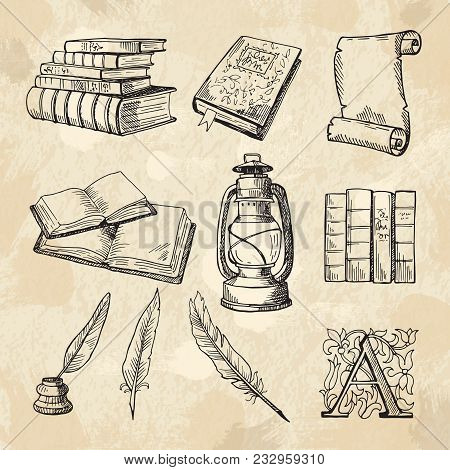Literature Concept Pictures. Vintage Hand Drawings Books And Different Tools For Writers. Literature