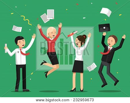 Business People Celebrating Success From Big Deal. Business Success Celebration, Successful Business