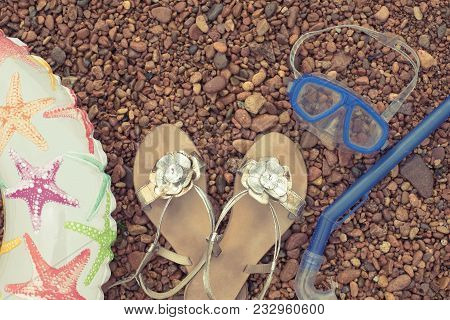 Banner Beach Accessories On The Sea Pebble. Lifeline Underwater Mask Tube Sandals. Flat Lay Top View