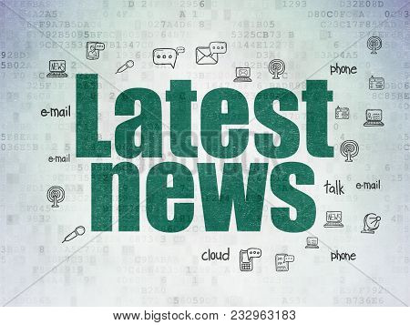 News Concept: Painted Green Text Latest News On Digital Data Paper Background With  Hand Drawn News