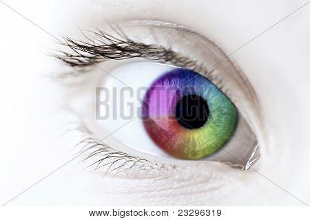 Arco iris ojo Closeup