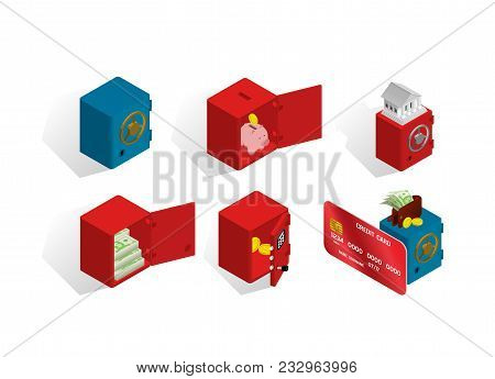Isometric Icons About Safes And Money, Banking Topics