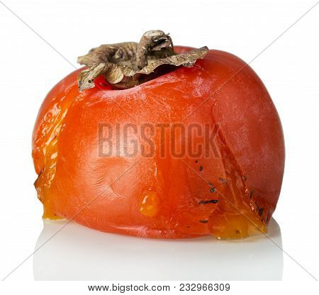 Spoiled Rotten Persimmon Fruit Isolated On White Background