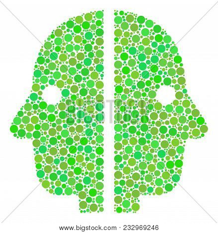 Dual Face Mosaic Of Dots In Various Sizes And Ecological Green Color Tints. Vector Filled Circles Ar