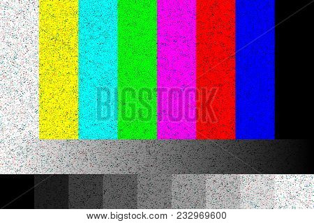 Tv No Signal. Rgb Static Screen With Noise. 4k, Full Hd Resolutions. Vector Illustration