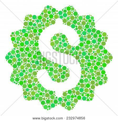 Financial Reward Seal Collage Of Filled Circles In Different Sizes And Eco Green Shades. Vector Roun