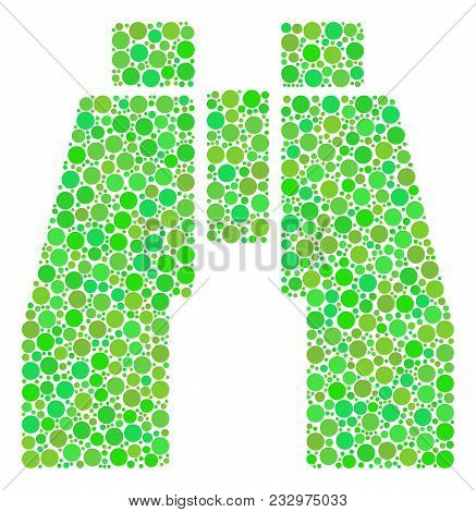 Find Binoculars Composition Of Circle Elements In Different Sizes And Fresh Green Color Tinges. Vect