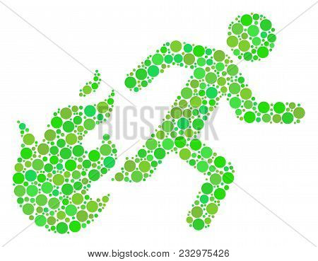 Fired Running Man Composition Of Dots In Different Sizes And Eco Green Shades. Vector Dots Are Group
