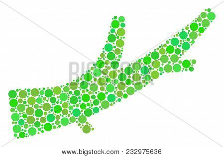 Firewood Mosaic Of Dots In Various Sizes And Eco Green Color Tones. Vector Round Dots Are Combined I